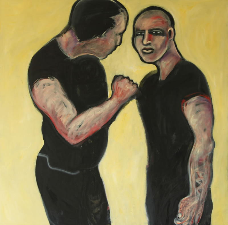 Cain & Abel 2, 2010 painting by Mary Woronov