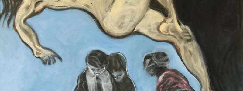 The only one smiling at mom's funeral was mom, 2012 painting by Mary Woronov