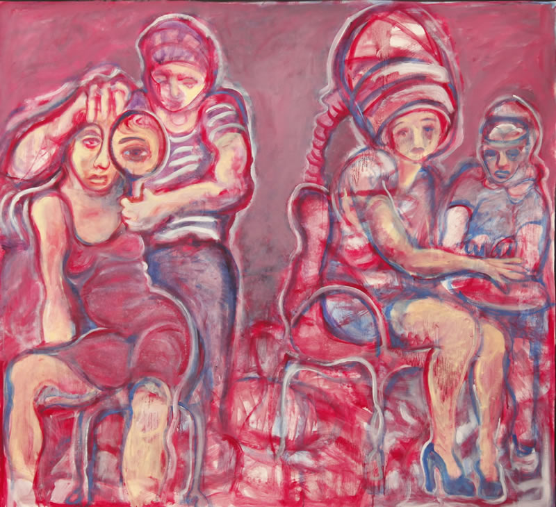 Beauty Parlor, 2013 painting by Mary Woronov