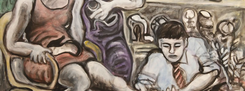Shoe Store 2, 2014 painting by Mary Woronov