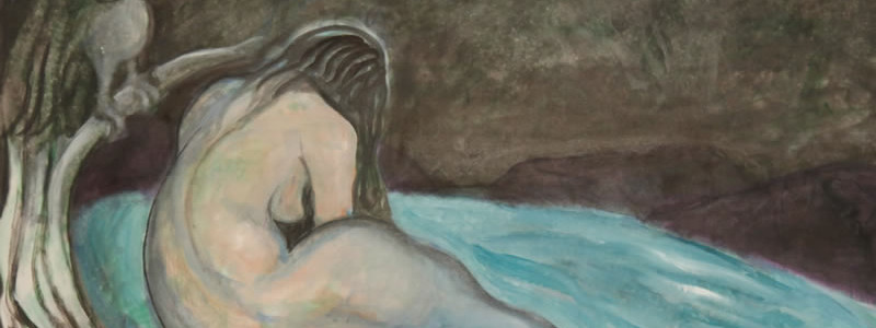 Retired Mythology, 2014 painting by Mary Woronov