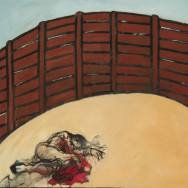 Death Enters the Ring, 2005 painting by Mary Woronov